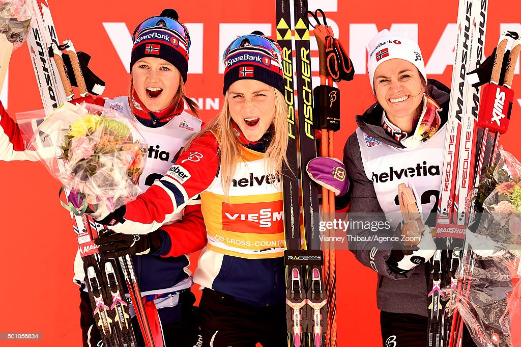Therese Johaug of Norway takes 1st place, Ingvild Flugstad Oestberg of Norway takes 2nd place, Heidi Weng of Norway takes 3rd place during the FIS Nordic World Cup Men's and Women's Cross Country Distance on December 12, 2015 in Davos, Switzerland.
