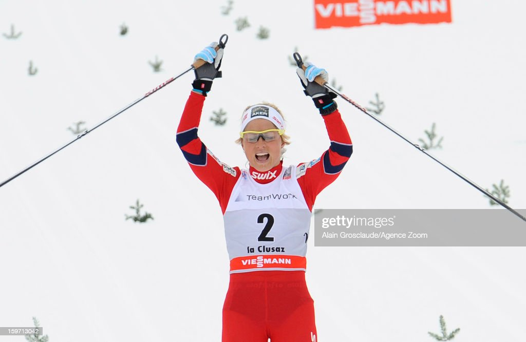 Therese Johaug of Norway takes 2nd place during the FIS Cross-Country World Cup Women's Mass Start on January 19, 2013 in La Clusaz, France.