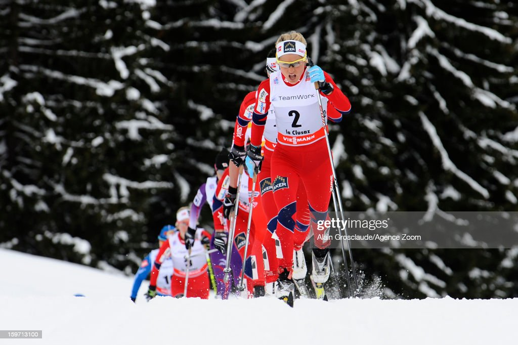 <a gi-track='captionPersonalityLinkClicked' href=/galleries/search?phrase=Therese+Johaug&family=editorial&specificpeople=4176080 ng-click='$event.stopPropagation()'>Therese Johaug</a> of Norway takes 2nd place during the FIS Cross-Country World Cup Women's Mass Start on January 19, 2013 in La Clusaz, France.