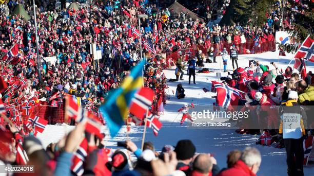 Therese Johaug of Norway win Gold Ladies 30 km in Holmenkollen Oslo Overview picture from Frognerseteren