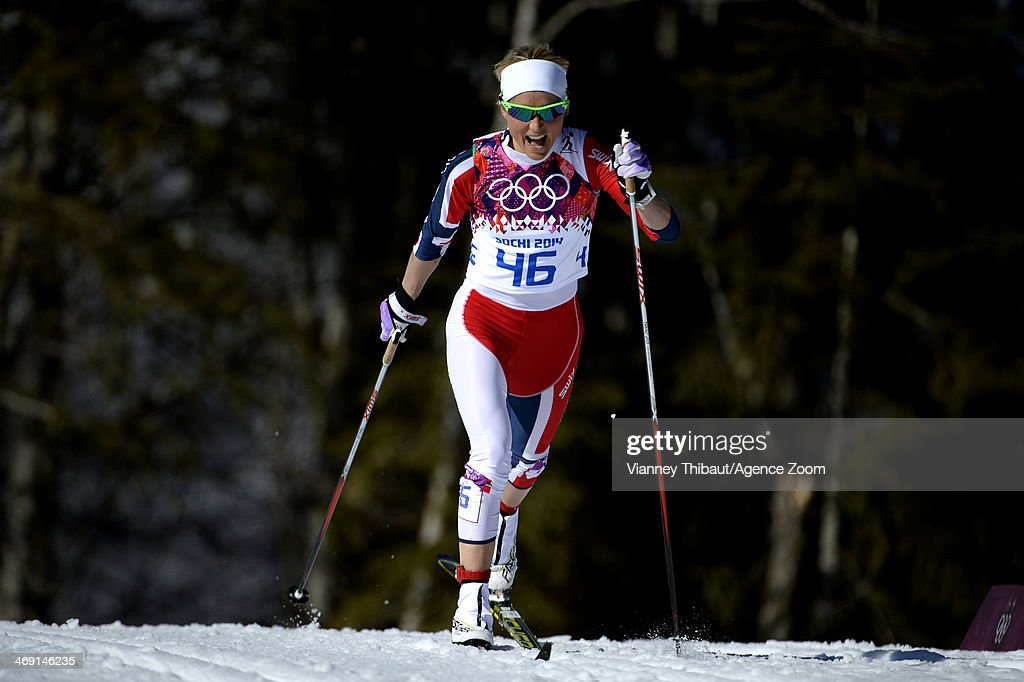 <a gi-track='captionPersonalityLinkClicked' href=/galleries/search?phrase=Therese+Johaug&family=editorial&specificpeople=4176080 ng-click='$event.stopPropagation()'>Therese Johaug</a> of Norway wins bronze medal during the Cross-Country Women's 10km Classic at the Laura Cross-country Ski & Biathlon Center on February 13, 2014 in Sochi, Russia.
