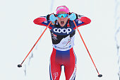 Therese Johaug of Norway wins the Ladies 10km Mass Start Classic Competition during day 2 of the FIS Tour de Ski event on January 6 2016 in...