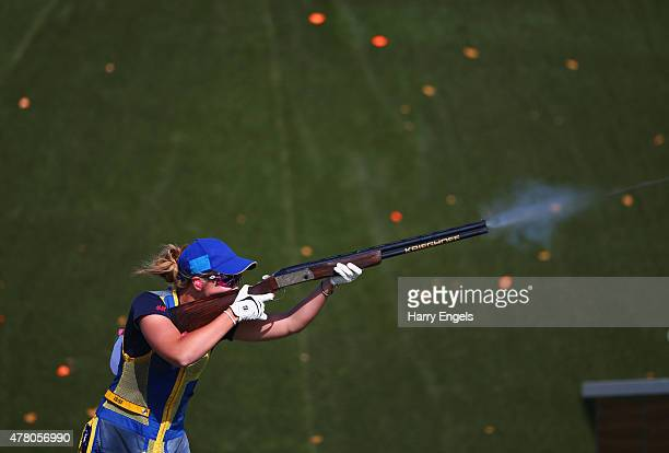 Therese Lindqvist of Sweden competes during the Mixed Team Skeet Shooting on day ten of the Baku 2015 European Games at the Baku Shooting Centre on...