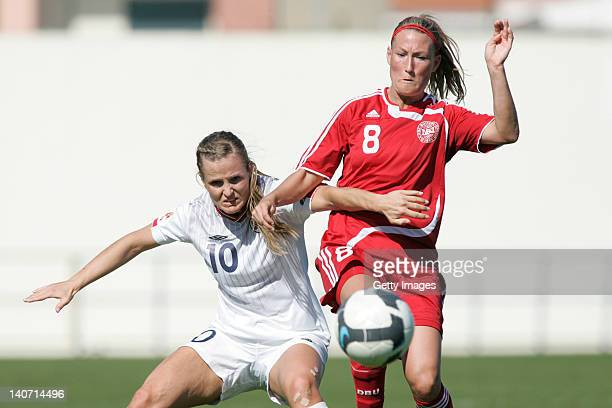 Therese Nielsen of Denmark challenges Pernille M Harder of Norway during the Women Algarve Cup match between Denmark and Norway on March 5 2012 in...