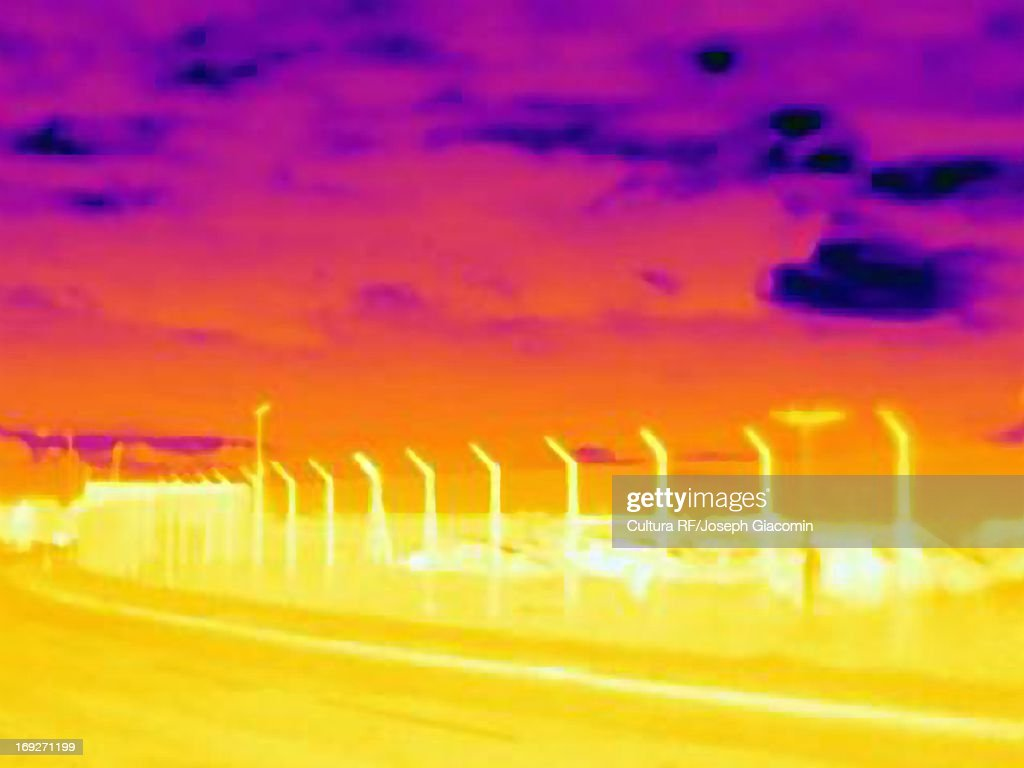 Thermal image of airport : Stock Photo