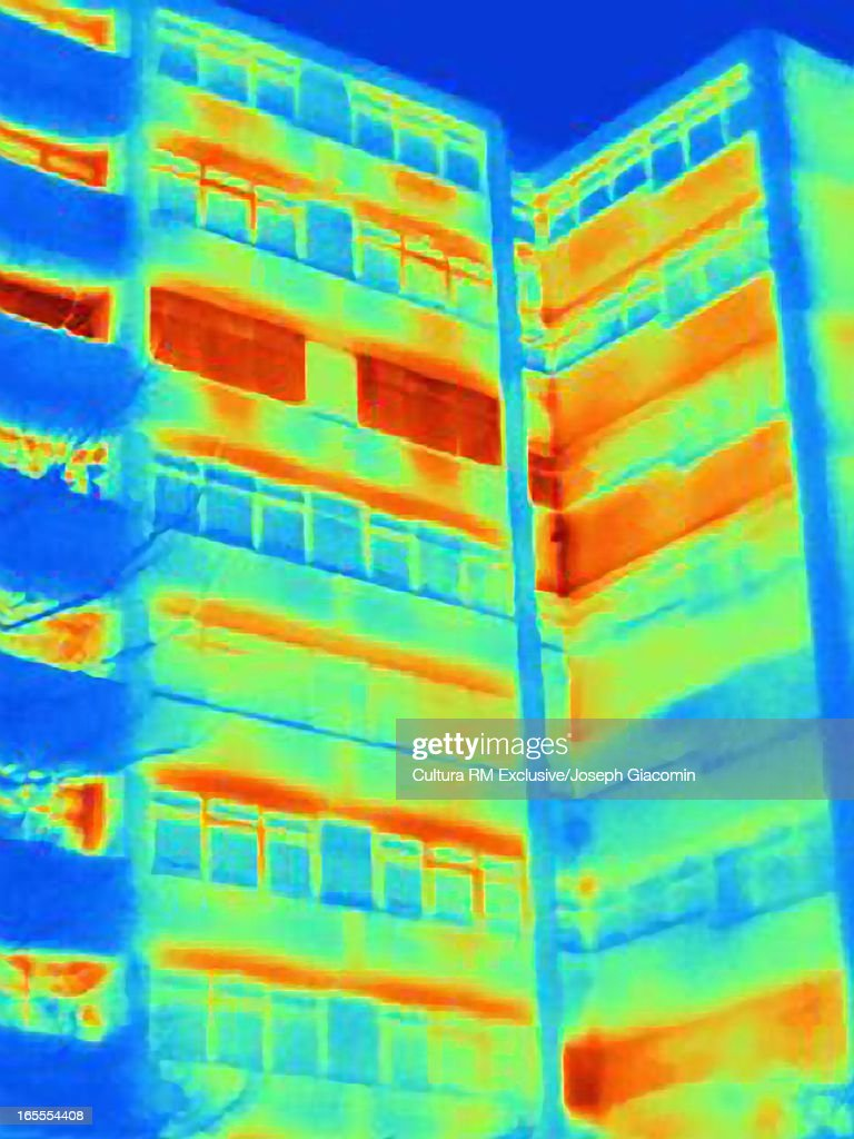 Thermal image of apartment building : Stock Photo