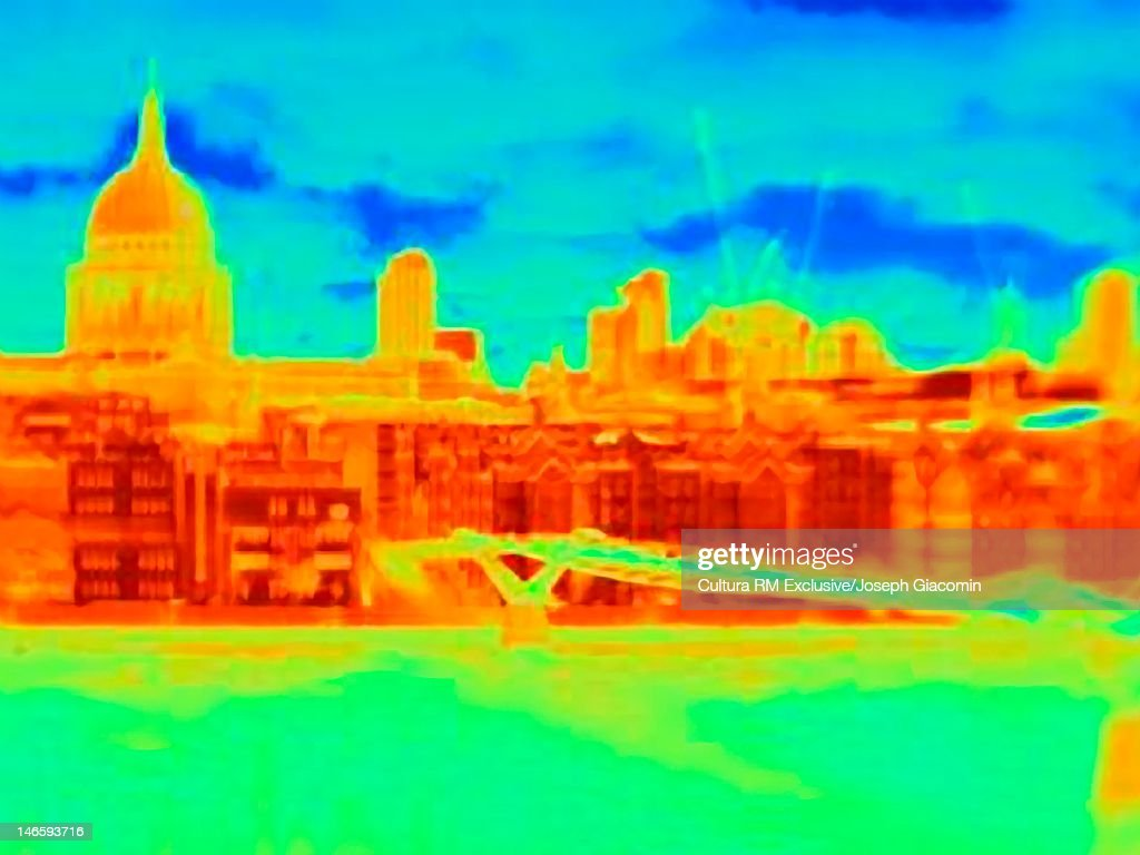 Thermal image of city skyline : Stock Photo