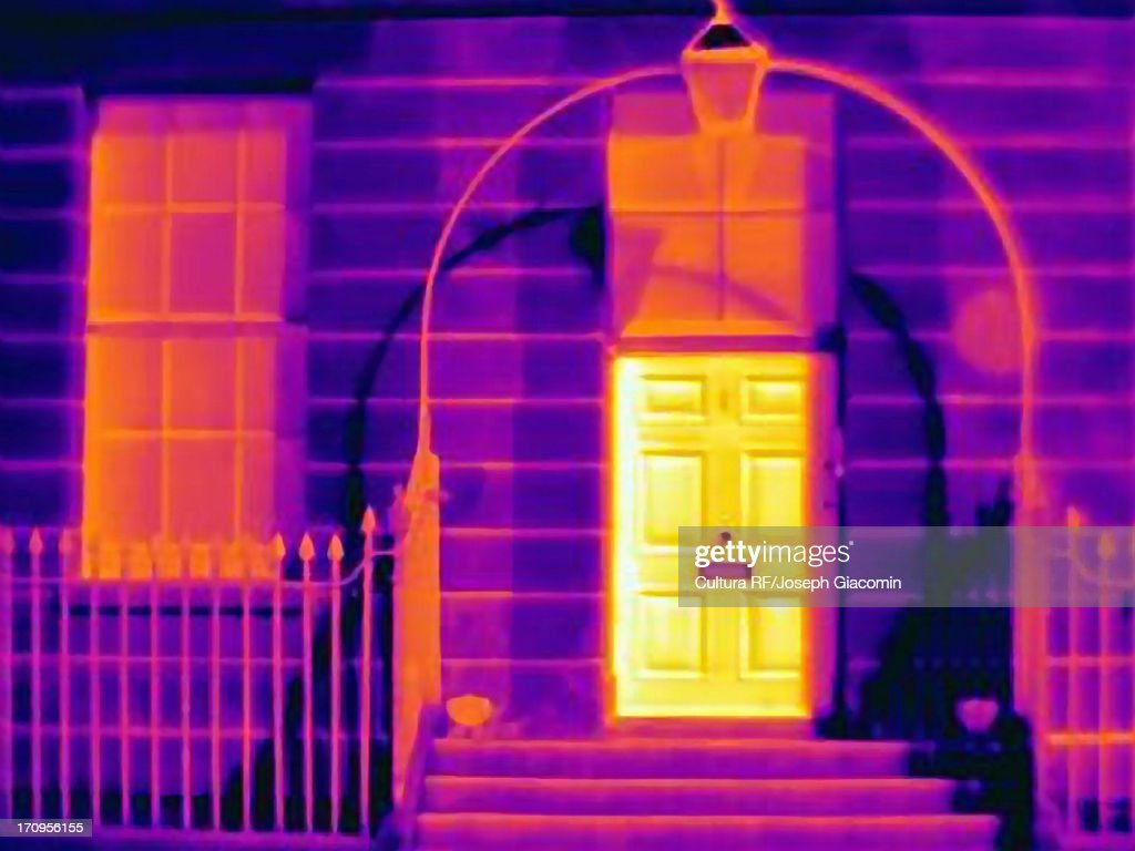 Thermal image of house on a london street : Stock Photo