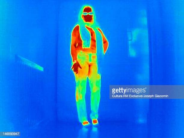 Thermal image of woman posing