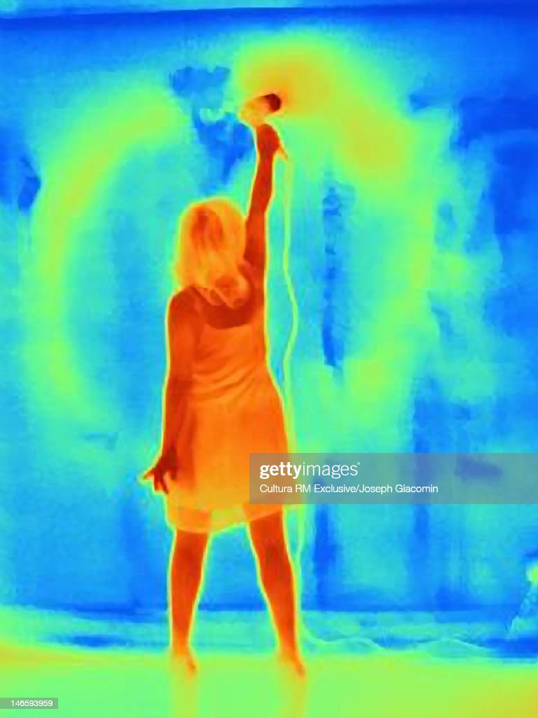 Thermal image of woman Thermal image wall : Stock Photo