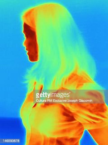 Thermal image of womans profile