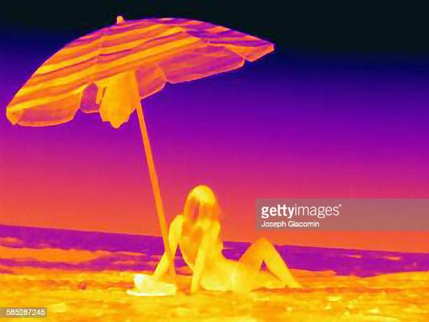 Thermal image rear view of young woman sitting on beach underneath umbrella
