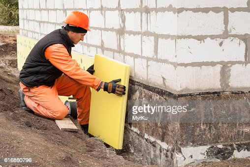 thermal insulation of the foundation : Stock Photo