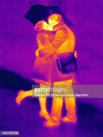 Thermal photograph of couple kissing in the rain