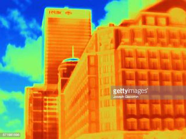 Thermal photograph of office blocks and skyscrapers at Canary Wharf, London, UK