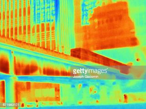 Thermal photograph of train on bridge at Canary Wharf, London, UK