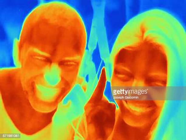 Thermal photograph of young couple smiling