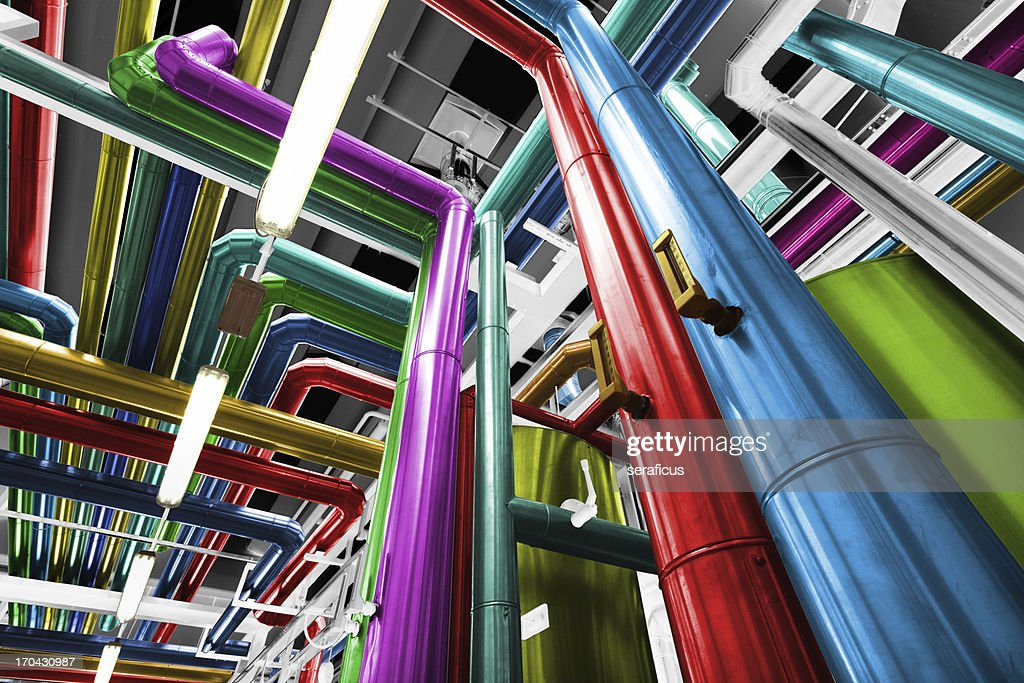 Thermal power plant with its pipes brightly colored