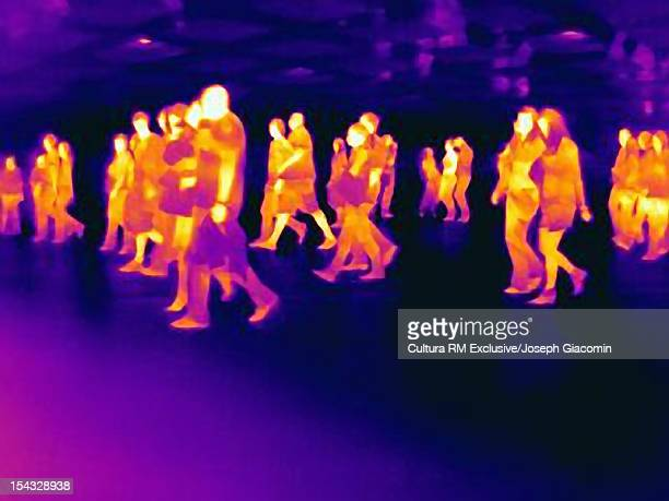 Thermal view of people walking