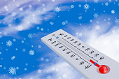 Thermometer in the snow on the background of snowflakes. 3d rendering.