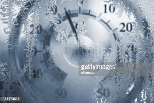 Thermometer behind a freezing window
