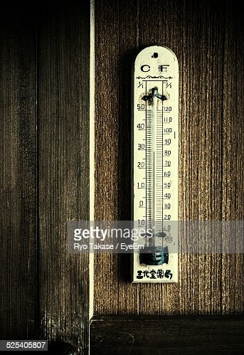 Thermometer Hanging On Wooden Wall