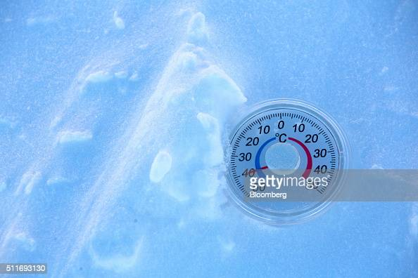 A thermometer measures an outdoor temperature reading of 40 degrees centigrade in this arranged photograph in Yakutsk Sakha Republic Russia on...