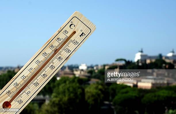 A thermometer shows 40 degrees Celsius at 1630 in Rome on July 28 2013 Temperatures reached 40 degrees Celsius all over Italy notably in Rome Naples...