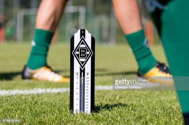 A thermometer shows the temperature at a training session at the Training Camp of Borussia Moenchengladbach on July 19 2017 in RottachEgern Germany