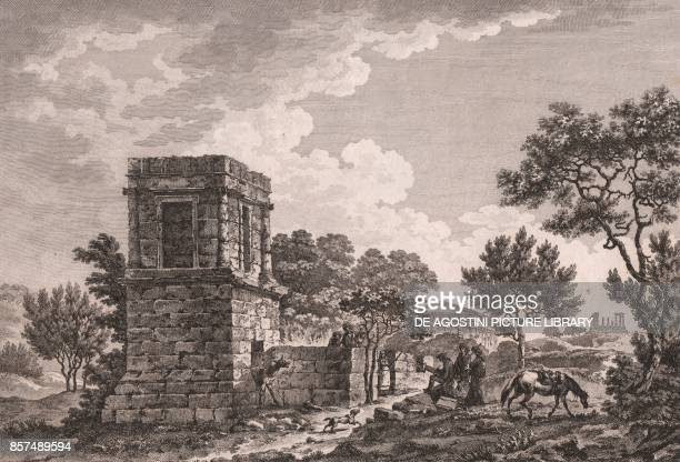 Theron's tomb in Agrigento Sicily Italy etching ca 25x19 cm from Voyage pittoresque a Naples et en Sicile Nouvelle edition by JeanClaude Richard de...