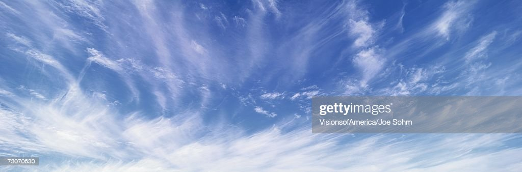 These are cirrus uncinus clouds. : Stock Photo