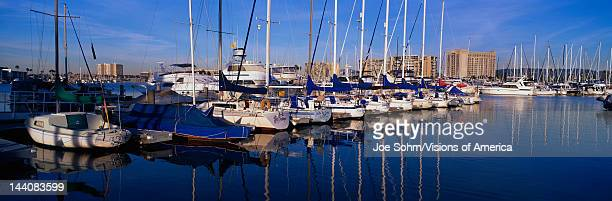 These are sailboats moored in the harbor The boats sit side by side with their sails tied up on their masts with blue covers