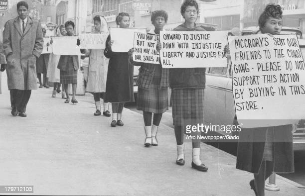 These are some of Friendship College students who have picketed two midtown variety stores Woolworths McCrory's and Good's drug store since the first...