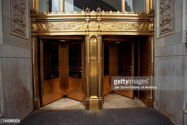 These are the golden front doors to the Wrigley Building