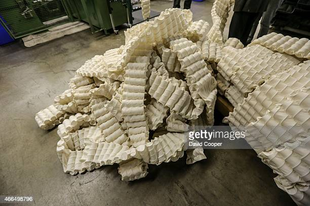 These are the long strips of cotton pockets after the springs have been inserted Brad Warner managing partner of Marshall Mattress and his son Eric...