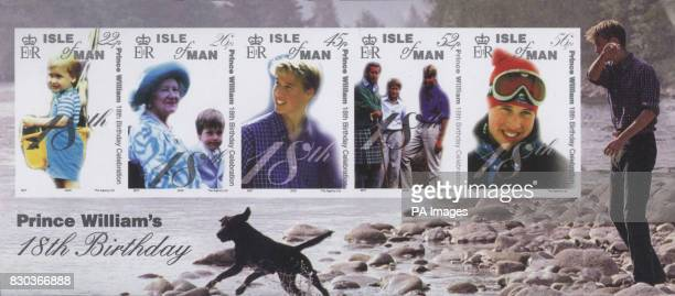 These are the stamps issued by the Isle of Man Post Office that will commemorate Prince William's 18th birthday Produced by the Crown Agents Stamp...