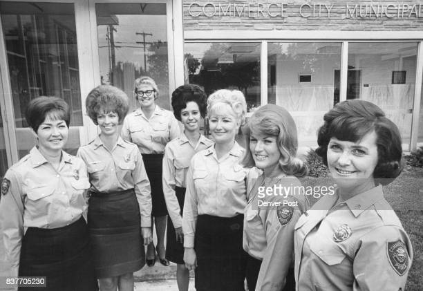 These are women members of commerce city's police department From left are Dortha Harter Bette Gaustad Helen Kindler Geri LaPenna Jan Kreutzer Julie...