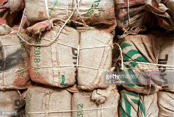 These Burlap Backpacks Contain Nearly A Quarter Of A Ton Of Marijuana On The Tohono O'Odham Indian Reservation In Arizona November 2000 US Customs...