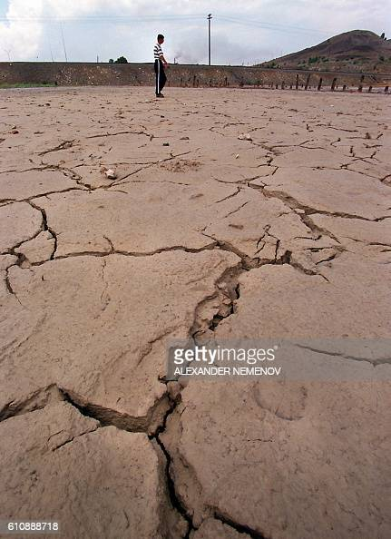 These clefts on the ground are the results of environmental pollution in the town of Karabash some 130 km from Chilyabinsk South Ural August 01 1999...