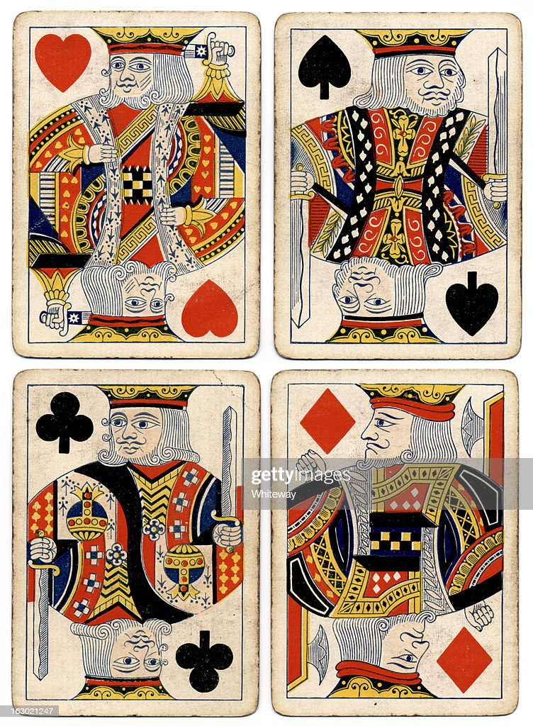 Antique playing cards four kings spades hearts diamonds clubs