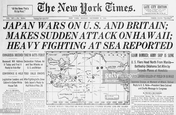 These headlines were from a New York newspaper telling of the start of the AmericanJapanese war December 7 1941