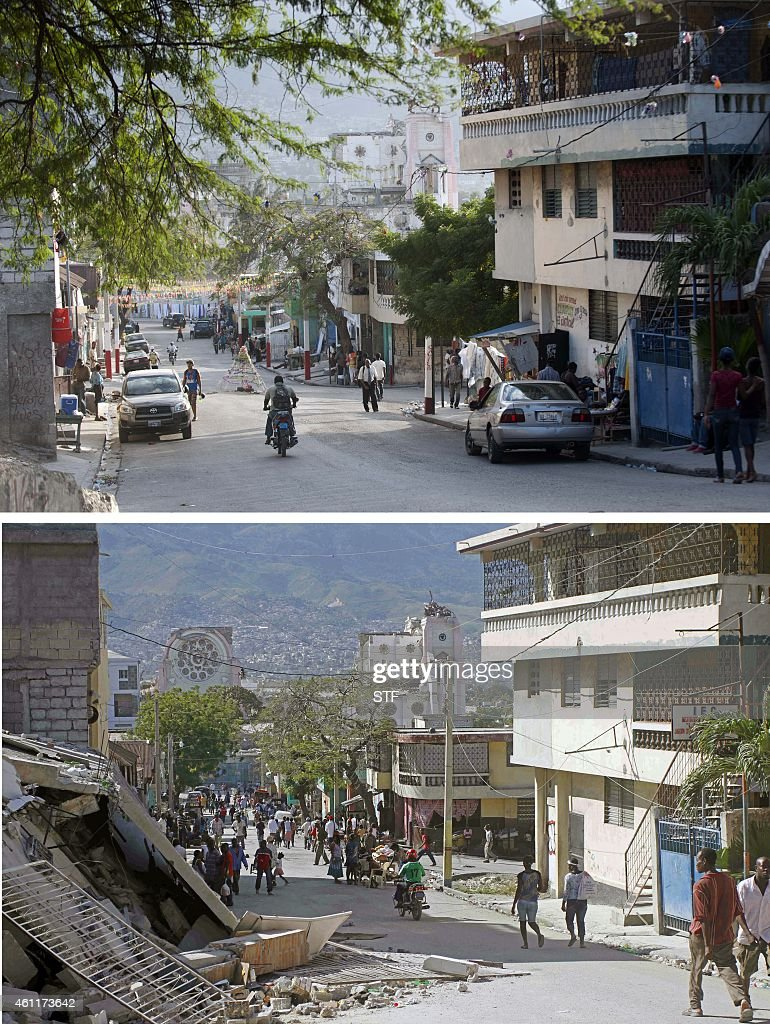 These images show a street in PortauPrince on December 29 2014 and the same street on January 14 two days after the eartkquake Haitians are observing...