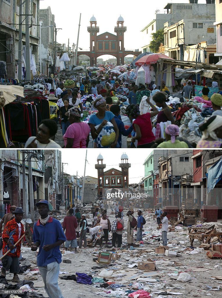 These images show downtown PortauPrince on December 29 2014 and January 14 two days after it was hit by the eartkquake Haitians are observing the...