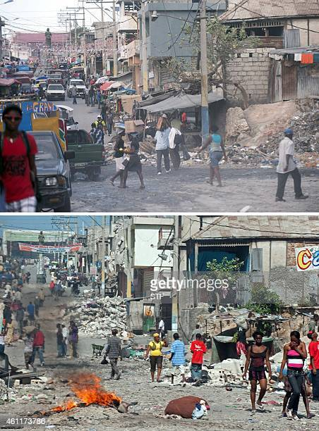 These images show downtown PortauPrince on December 29 2014 and January 18 six days after it was hit by the eartkquake Haitians are observing the...