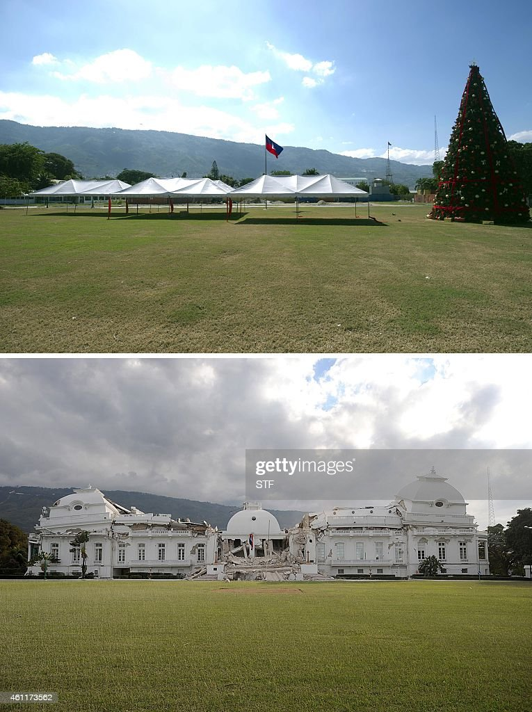 These images show the site of the Haitian National Palace in PortauPrince on December 29 2014 and the destroyed building on January 13 one day after...
