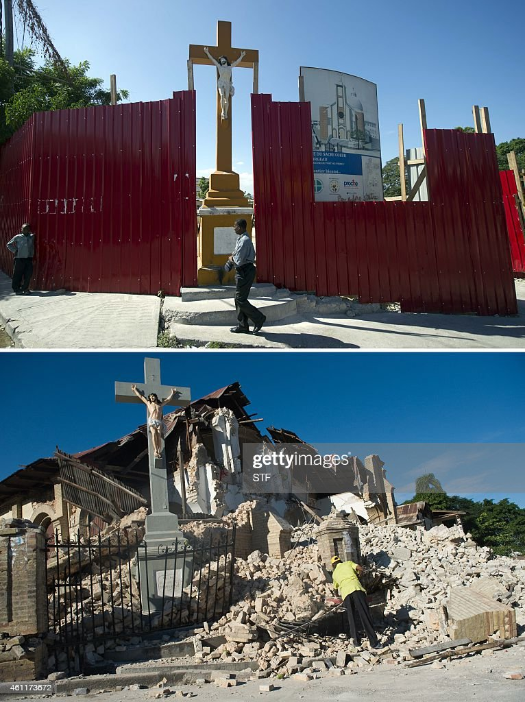 These images show the site of the Sacre Coeur Church in PortauPrince on December 29 2014 and the church on January 14 two days after it was destroyed...