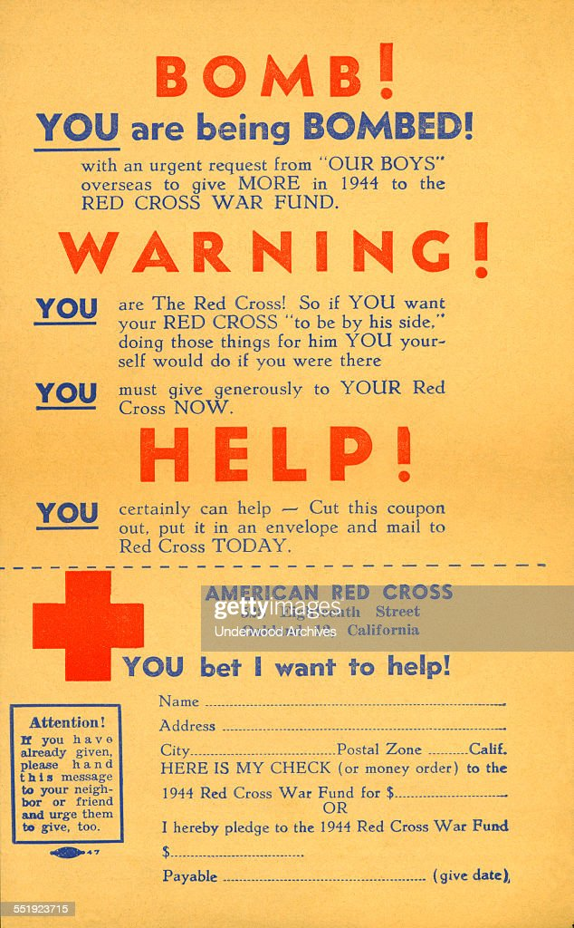 These leaflets were dropped from an airplane over Oakland on April 1 1944 as part of raising funds for the American Red Cross Oakland California...