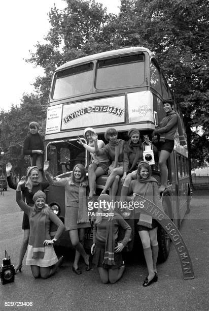 These lucky girls are off to America to sell 'Flying Scotsman' sovenirs from the double decker bus Left to right at Battersea Park front Sandra Young...