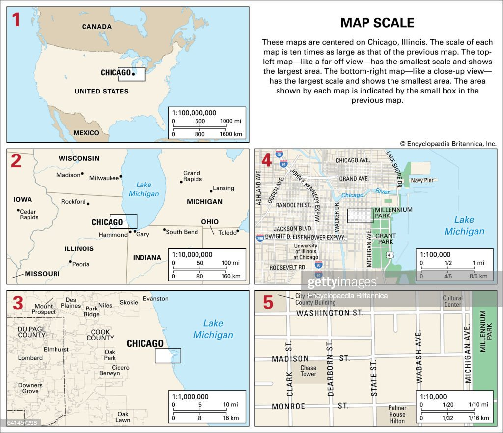 These Maps Are Centered On Chicago Ill The Scale Of Each Map Is - Ill map