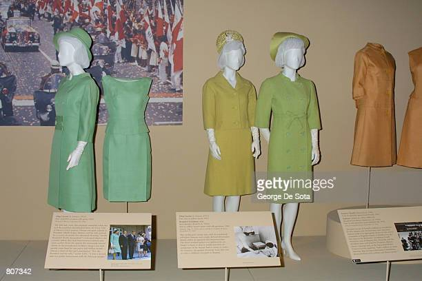 These silk day ensembles by Oleg Cassini were worn by Jacqueline Kennedy on her trip to Mexico and are now on display at the exhibition 'Jacqueline...